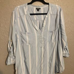 Torrid Size 3 Light Blue Striped Georgette Blouse